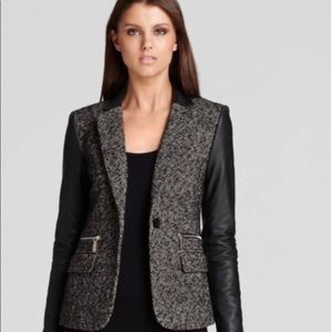 Michael Kora MK Tweed Leather Sleeve Jacket Blazer